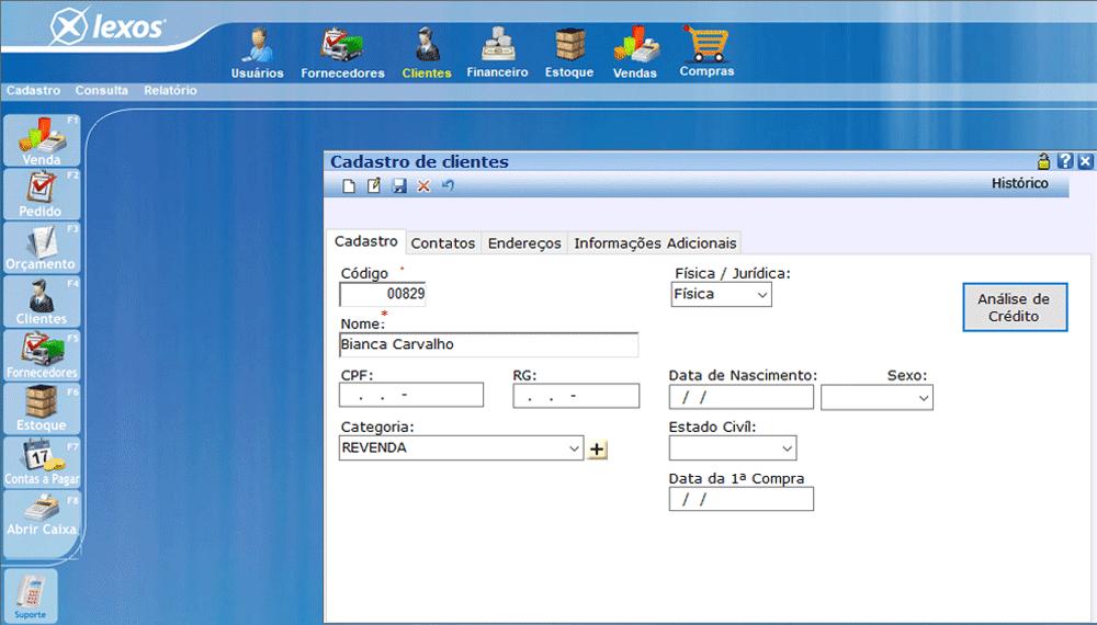 Cadastro de cliente sistema comercial